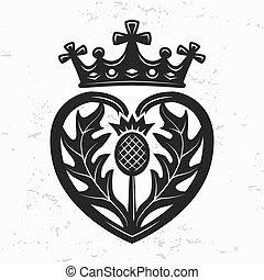 element., forma, disegno, corona, cardo, vettore, giorno, illustrazione, valentina, simbolo, logotipo, spilla, luckenbooth, concept., fondo., o, cuore, vendemmia, scozzese, grunge, matrimonio