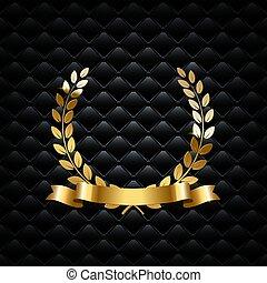 element., ghirlanda, vettore, fondo., disegno, nastro, nero, alloro, dorato, lusso
