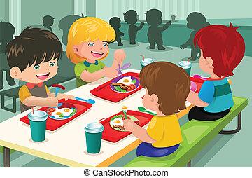 elementare, cafeteria, mangiare, studenti, pranzo