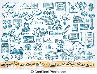 elementi, affari, isolato, set, infographics, schizzo, doodles, :