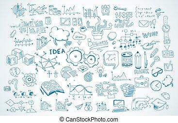 elementi, affari, set, vettore, infographics, schizzo, doodles, shapes., :, isolato