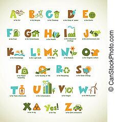 elementi, alfabeto, collezione, vettore, ecologia, verde