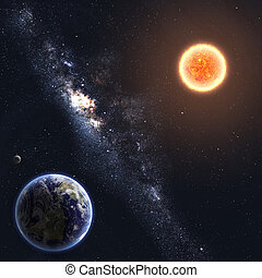 elementi, ammobiliato, questo, immagine, nasa, sun., terra