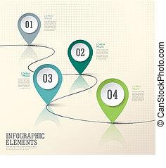 elementi, astratto, carta, moderno, marchio, posizione, infographic