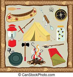 elementi, campeggio, icone