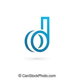 elementi, d, disegno, lettera, logotipo, icona, sagoma