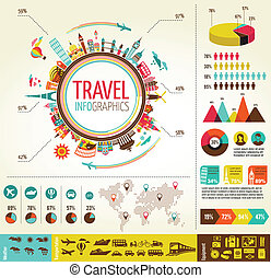elementi, dati, icone corsa, infographics, turismo