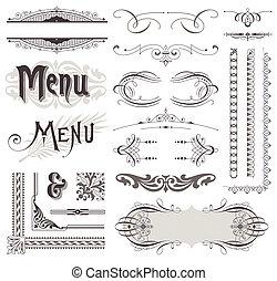 elementi decorativi, &, calligraphic, vettore, disegno, decorazioni, ornare, pagina