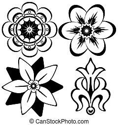 elementi decorativi, (vector), vendemmia, disegno, floreale