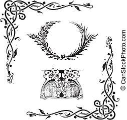 elementi, decorativo, disegno floreale
