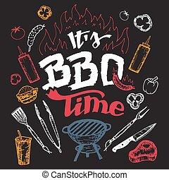 elementi, disegnato, è, passare insieme, tempo, barbecue