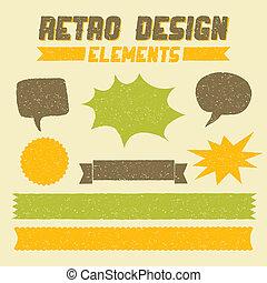 elementi, disegno, retro, collezione