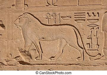 elementi, egitto, -, esterno, karnak, tempio