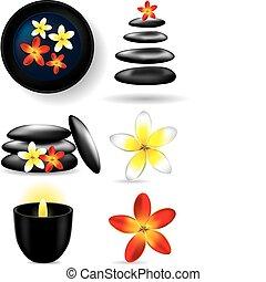 elementi, fiore, -, ston, candela, terme
