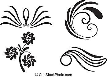 elementi floreali, nero