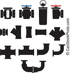 elementi, fornitura, collection., sistema, isolato, acqua, vettore, bianco