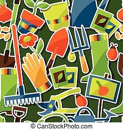 elementi, giardino, icone, modello, adesivo, seamless, disegno