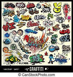 elementi, graffito, set, vettore
