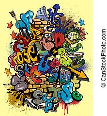 elementi, graffito, vettore