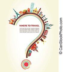 elementi, icone, turismo, punto interrogativo, viaggiare, dove