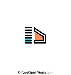 elementi, lettera, logotipo, d, icona, sagoma, disegno