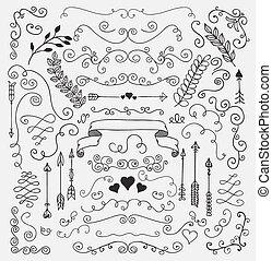 elementi, mano, rustico, vettore, disegno, sketched, floreale
