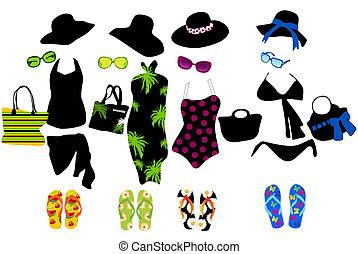elementi, moda, spiaggia