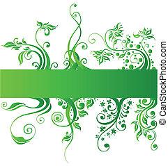 elementi, natura, vettore, disegno, floreale, verde