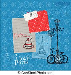 elementi, parigi, vendemmia, -, francobolli, vettore, disegno, album, scheda
