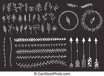 elementi, penne, divisori, mano, frecce, vendemmia, floreale, disegnato