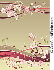 elementi, rami, primavera, cornice, cuori, astratto