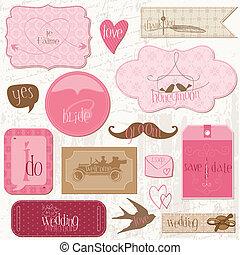 elementi, romantico, etichette, invito, -for, vettore, disegno, matrimonio, album