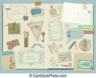 elementi, scarabocchiare, -, accessori, collezione, mano, vettore, disegno, album, disegnato, gentlemen's