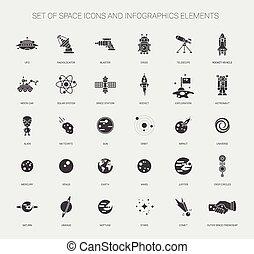elementi, spazio, icone, set, pictograms, infographics