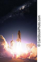 elementi, spento, ammobiliato, questo, presa, navetta spaziale, nasa, mission., immagine