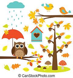 elementi, uccelli, albero, set, vettore, owl., autunnale