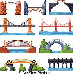 elementi, vario, architettura, ponte, ponti, costruzione urbana, disegno, collezione, appartamento, illustrazione, vettore
