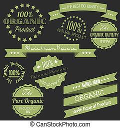 elementi, vecchio, organico, vendemmia, vettore, retro, articoli, naturale