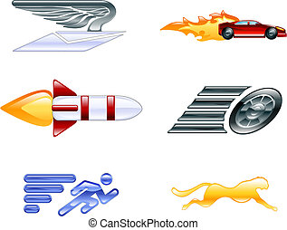 elementi, velocità, serie, set, icona, disegno