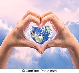 elemento, forma, immagine, umano, sopra, mondo, salute, cuore, background:, naturale, questo, giorno, donne, ammobiliato, nasa, mani, sfocato
