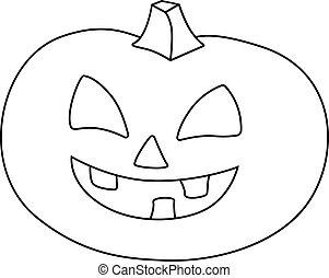 elemento, vettore, coloring., illustrazione, zucca, lineare, cricco, book., lanterna, illustration., faccia, -, fuori, coloritura, taglio, halloween, outline.