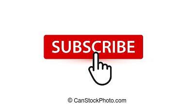 elemento, vettore, puntatore, bottone, dito, seguaci, subscribers, digitale, contenuto, rosso, abbonarsi, ui
