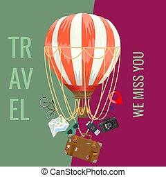 elements., concetto, balloon, aria, sagoma, tuo, disposizione, design., illustration., annunci, adverstisement, viaggiare, vettore