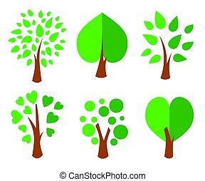 elements., icone, alberi., set., collezione, vettore, disegno, illustrazione