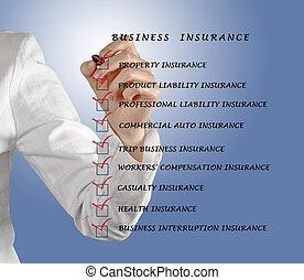 elenco, assegno, assicurazione affari
