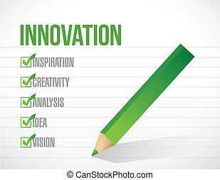 elenco, illustrazione, marchio, disegno, innovazione, assegno