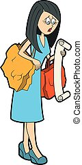 elenco, shopping, casalinga, lungo
