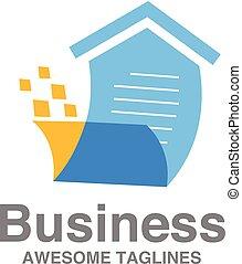 elenco, vendita, creativo, vettore, casa, logotipo