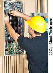 elettricista, elettrico, lavorativo, pannello