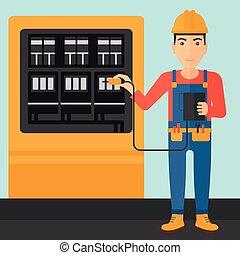 elettricista, equipment., elettrico